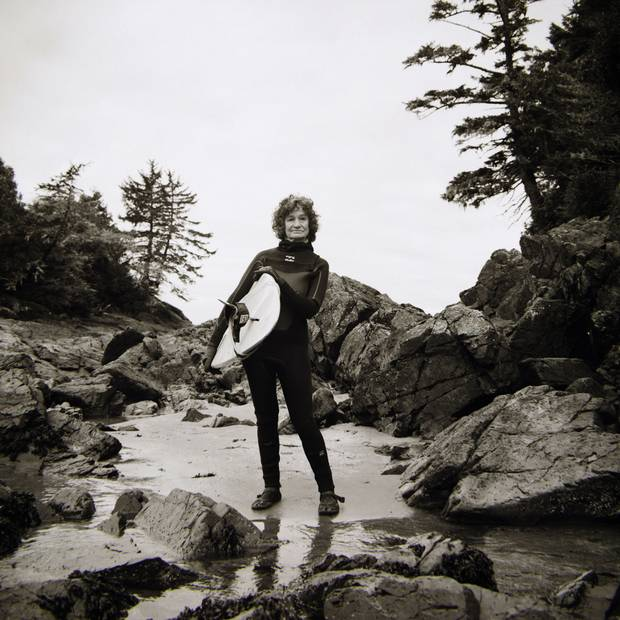 As one of the first women to surf off Tofino's coast, Shelley Renard, now 65, began learning when she was 23. 'It was to show men that I could do as well as some of them,' she said.