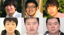 Three men have been arrested (bottom row, from left: Hyung Jun Ha, Jong Il Lee, Sang Cheol Lee) in a string of gang sexual assaults against four women in the GTA. Canada-wide warrants have been issued for there more, top row from left: Jin Hyun Kim, 33, Yoon Hyun Cho, Jung Jay Lee (Toronto Police Service handout)