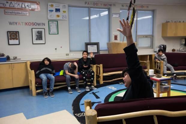 A Cree class at Ermineskin Junior Senior High School.