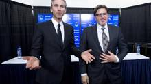 Trevor Linden, left, and Vancouver Canucks owner Francesco Aquilini in Vancouver on Wednesday, April 9, 2014. (JONATHAN HAYWARD/THE CANADIAN PRESS)