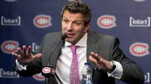 Montreal Canadiens general manager Marc Bergevin speaks to reporters Monday, May 13, 2013 in Brossard, Que. (The Canadian Press)