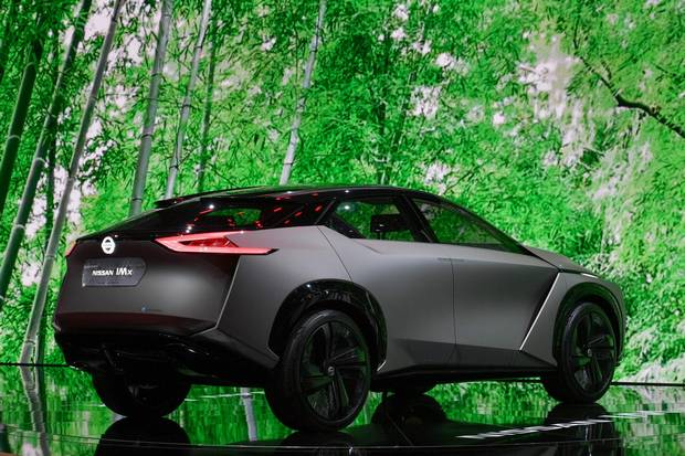 Nissan IMx concept car. Nissan: GENEVA (March 6, 2018) – The Nissan IMx KURO was unveiled today at the Geneva International Motor Show, marking the European debut of the IMx electric crossover concept vehicle. Kuro, which means black in Japanese, comes to life on the IMx, which was first revealed at the Tokyo Motor Show in October 2017, with new look black trim and wheels, an updated grille and a new dark gray body color. The Nissan IMx KURO provides a glimpse into the future of Nissan Intelligent Mobility, the company's vision for changing how cars are powered, driven and integrated into society. The innovative concept vehicle is designed to strengthen the link between car and driver as a close, reliable partner that delivers a safer, more convenient and more exciting drive.