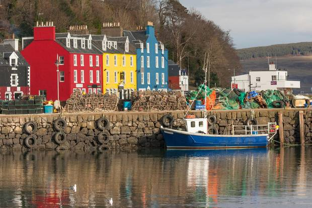 Tobermory harbour on the Isle of Mull, the second-largest island in the Inner Hebrides.