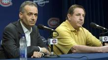 Montreal Canadiens head coach Jacques Martin, right, and general manager Pierre Gauthier speak to reporters. (Ryan Remiorz/The Canadian Press)