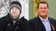 Philippe Jacques-Bélair, left, and Alden Yale Henry are two Canadians who received the Medal of Bravery this year for their acts of heroism. (Christinne Muschi for The Globe and Mail (left); Sgt. Ronald Duchesne/Rideau Hall)