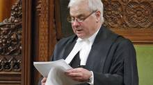 House of Commons Speaker Peter Milliken delivers his ruling on whether the government's refusal to hand over documents on Afghan detainees violates parliamentary privilege on April 27, 2010. (Adrian Wyld/THE CANADIAN PRESS)