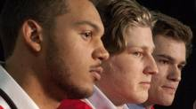Portland Winterhawks defenceman Seth Jones, left, Halifax Mooseheads centre Nathan MacKinnon, centre, and Halifax Mooseheads left winger Jonathan Drouin speak to the media in Saskatoon, Sask., on Thursday, May 16, 2013. The (Liam Richards/THE CANADIAN PRESS)