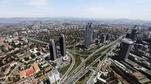 Istanbul's Levent financial district, which comprises of leading Turkish company headquarters and popular shopping malls, is seen from the Sapphire Tower in Istanbul May 17, 2011. (OSMAN ORSAL/REUTERS)