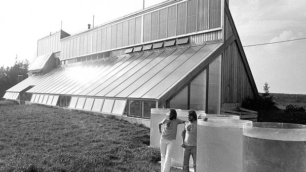 David Bergmark and Ole Hammarlund, founders of Solsearch Architects and designers of the Ark, stand in front of the south side of the Ark in 1976.