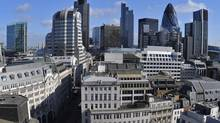 An elevated view shows the financial district of the City of London in this picture from 2011. (TOBY MELVILLE/REUTERS)