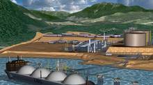 An illustration of the proposed LNG facility in Kitimat, B.C. (KITMAT LNG)