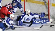 The Toronto Marlies and Grand Rapids Griffins do battle during Game 2 of their AHL playoff game. (Graig Abel/The Toronto Marlies)