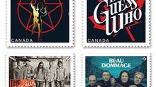 Canada's favourite bands take centre stage with latest stamp release. Popular rockers Rush, The Tragically Hip, The Guess Who and Beau Dommage are honoured on the new stamps.