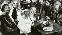 Linda Munk (laughing) and friends in Gstaad, Switzerland, March 1970.