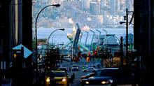 The 2010 Olympic Winter games cauldron is seen from a street in downtown Vancouver. (Kevork Djansezian/Getty Images)