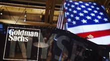 The Goldman Sachs logo is displayed on a post above the floor of the New York Stock Exchange, in this file photo. (Lucas Jackson/Reuters)