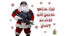 Police in Abbotsford are sending a Christmas card featuring Santa Claus in police tactical gear to prolific offenders this year. (Police handout)