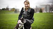 Marcie Moriarty of the B.C. SPCA gets some play time with her blind Boston terrier, Jeeves. (Rafal Gerszak for the Globe and Mail)