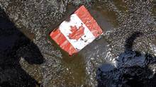 A placard with the Canadian flag rests on the ground covered in oil during a demonstration against the Keystone pipeline, outside the Canadian consulate in Chicago, May 17, 2012. (Nam Y. Huh/AP)