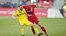 In this file photo, Toronto FC's Darren O'Dea during first half MLS action against the Columbus Crew in Toronto on Saturday, May 18, 2013. TFC and the Irish international defender parted ways on Sunday as the struggling MLS club made the decision to free up room in its salary cap. (Chris Young/THE CANADIAN PRESS)