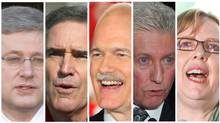 From left: Stephen Harper, Michael Ignatieff, Jack Layton, Gilles Duceppe, Elizabeth May (The Canadian Press)