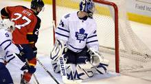 Florida Panthers forward Michal Repik andToronto Maple Leafs goalie James Reimer watch Repik's goal during the second period in Sunrise. Fla. (Rhona Wise/Associated Press/Rhona Wise/Associated Press)