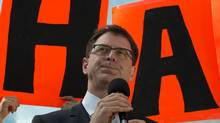 B.C. NDP Leader Adrian Dix addresses supporters during a campaign stop in Kamloops on May 13, 2013. (Jonathan Hayward/The Canadian Press)