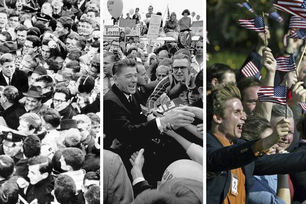 John F. Kennedy meets a surging mass of Harvard students on Jan. 9, 1961; Ronald Reagan, then the Republican candidate for governor of California, greets a crowd in Los Angeles on Nov. 5, 1966; supporters of George W. Bush cheer at the White House on Nov. 2, 2004.