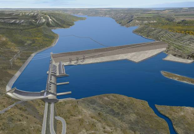 A rendering of the Site C dam on the Peace River in B.C.
