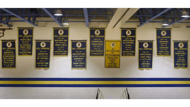 Championship banners hang from the rafters of the gymnasium at Port Credit Secondary School.