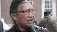 Edmund Metatawabin, 66, a survivor of St. Anne's residential school in Fort Albany, Ont., is seen outside Osgoode Hall in Toronto on Tuesday, December 17, 2013. Metatawabin remembers being placed in an electric chair at the school. (Colin Perkel/THE CANADIAN PRESS)