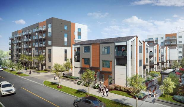 The project consists of 228 mid-rise suites and 100 townhomes.