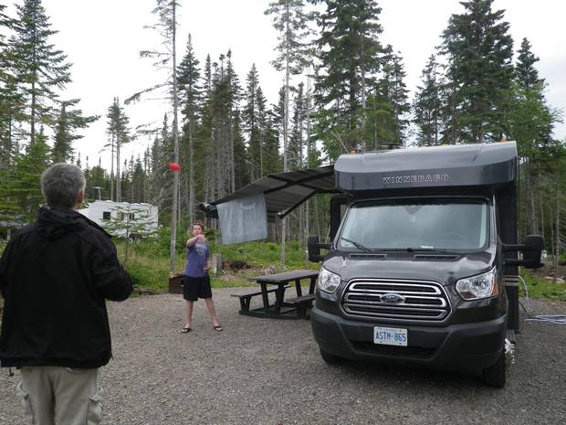 Playing catch while RV camping in Forillon National Park.