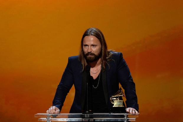 Producer Max Martin speaks at the Grammy Awards on Feb. 8, 2015.