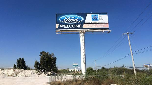 A billboard welcoming Ford Motor Co. is seen at an industrial park in San Luis Potosi, Mexico, on January 4, 2017.