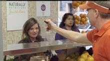 The campaign kicks off with a hidden-camera video featuring comedian Gerry Dee working the counter at a juice bar, offering people vitamin additives and then stuffing bread slices into the smoothies of those who accept.