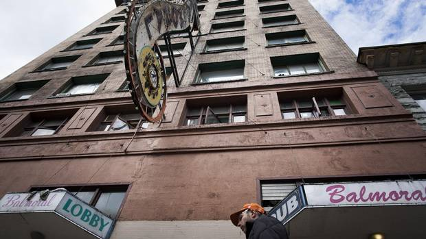 The Balmoral, an occupancy hotel, sits in Vancouver's Downtown Eastside and is home to roughly 140 tenants.