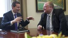 Premier Dalton McGuinty, left, and Toronto mayor Rob Ford meet at Queen's Park in Toronto, Dec. 7, 2010. (Kevin Van Paassen/Kevin Van Paassen/The Globe and Mail)