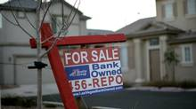 A for sale sign stands in front of a bank-owned home in Las Vegas in Las Vegas, Friday, Feb. 8, 2008. (Jae C. Hong/AP)