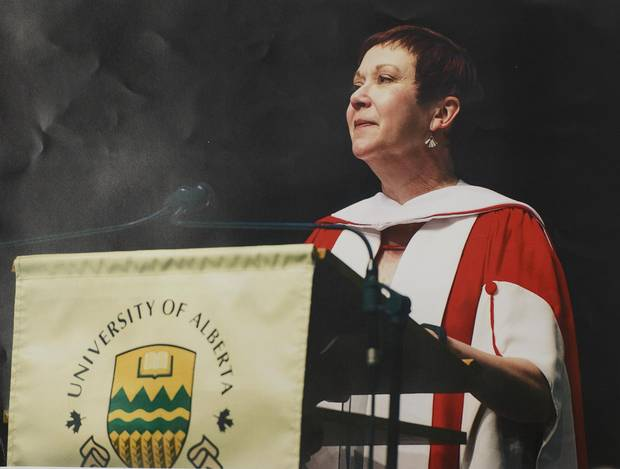 Ruth Kelly accepts an honorary degree at the University of Alberta.
