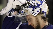 Jonas Gustavsson, seen taking a break during Toronto's 3-0 loss to Buffalo. (MIKE CASSESE/Mike Cassese/Reuters)