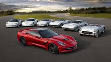 The 2014 Corvette Stingray coupe with older editions of Corvette drop-tops. (General Motors)