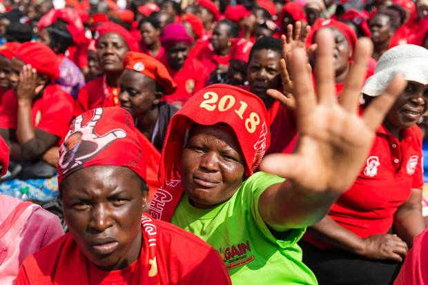 Supports of Zimbabwean opposition leader Morgan Tsvangirai rally in Harare in August. The long-time MDC Leader's illness but refusal to step down has left the party rudderless, and in 'a very bad place,' one activist says.