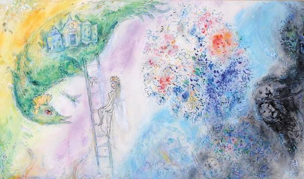 In addition to paintings on canvas, Marc Chagall created theatrical set pieces, such as a backdrop design for The Firebird, which was intended for a Stravinsky ballet.