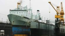 The 40-year-old supply ship HMCS Preserver sits in drydock at the Halifax Shipyard on July 14, 2010. The bid to replace the navy's two existing replenishment ships, Preserver and HMCS Protecteur, has been long and fraught with complications. (PAUL DARROW/REUTERS)