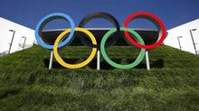 The Olympic rings are pictured next to the Aquatics Centre before the start of the London 2012 Olympic Games in London, July 22, 2012. (DAVID GRAY/REUTERS)