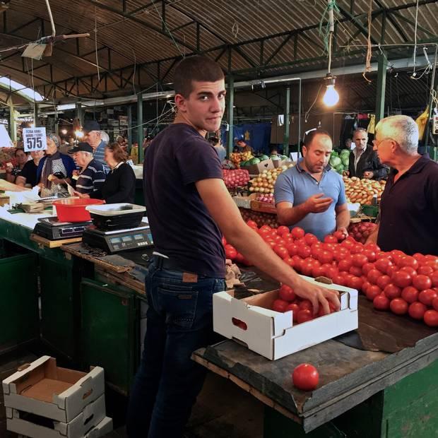 Visiting a Macedonian market.
