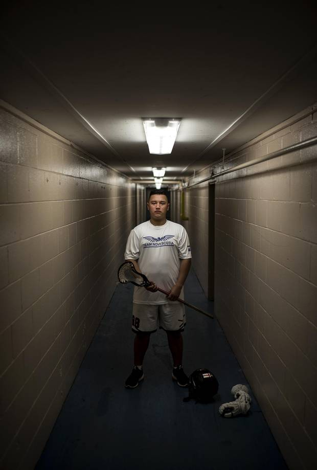 Bryson Knockwood, captain of Nova Scotia's lacrosse team competing at the North American Indigenous Games, poses following practice in Truro, N.S. on Sunday, July 9, 2017.