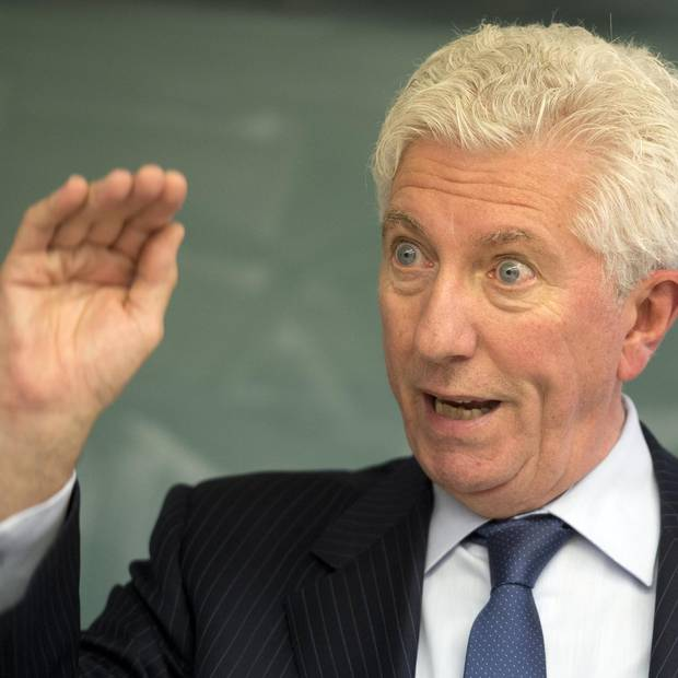 Bloc Quebecois leader Gilles Duceppe speaks to students at an adult education school while campaigning Sept. 29, 2015 in Montreal.