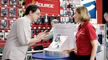 A new advertising campaign for electronics retailer The Source emphasizes high-demand products.